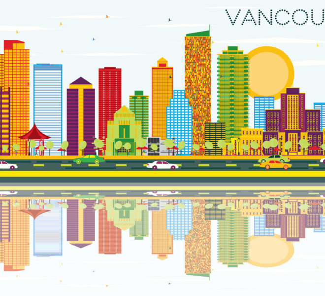 Vancouver Real Estate Skyline with Color Buildings