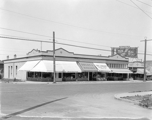 Granville & 13th storefronts 1924
